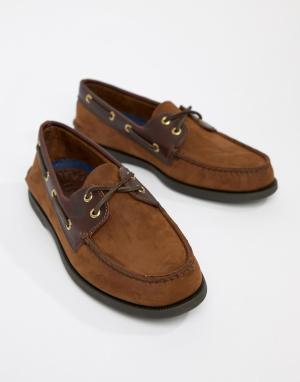 Sperry Коричневые кожаные мокасины Topsider. Цвет: коричневый