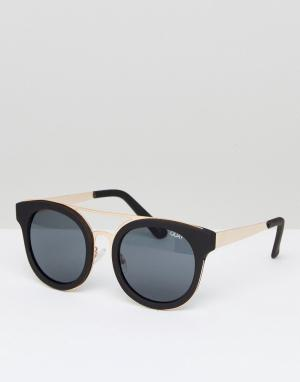 Quay Australia Черные круглые солнцезащитные очки Brooklyn. Цвет: черный