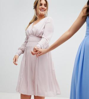 TFNC Plus Платье миди с длинными рукавами и плиссированной юбкой WEDDI. Цвет: коричневый