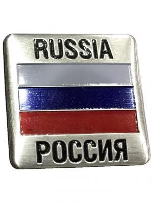 Наклейка 3D Россия патриот WIIIX. Цвет: серебристый
