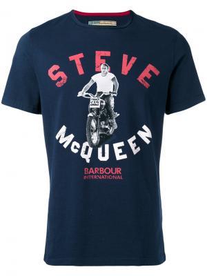 Футболка с принтом мотоциклиста Steve McQueen Barbour. Цвет: синий
