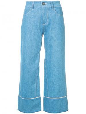 Широкие укороченные джинсы Vionnet. Цвет: синий