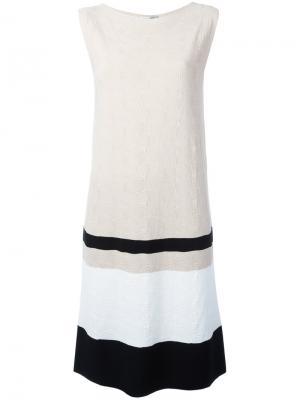 Платье в контрастную полоску D.Exterior. Цвет: телесный