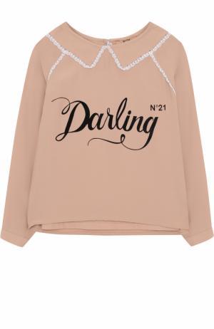 Блуза с кружевной отделкой и топом No. 21. Цвет: светло-розовый