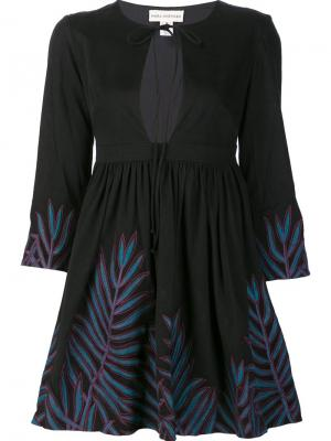 Расклешенное платье с вышивкой Mara Hoffman. Цвет: чёрный