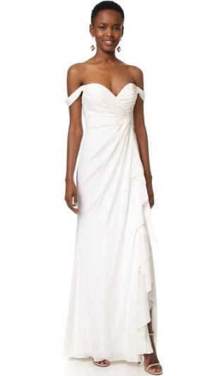 Вечернее платье с открытыми плечами Badgley Mischka Collection. Цвет: светлый цвет слоновой кости