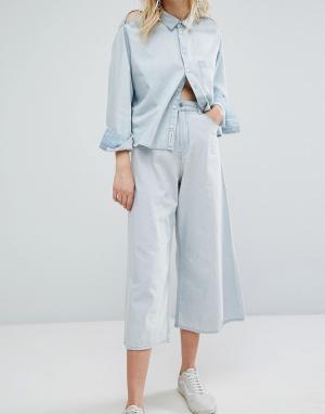 Cheap Monday Укороченные джинсы с широкими штанинами. Цвет: синий