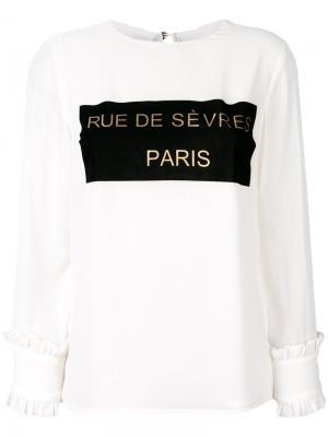 Блузка с аппликацией и оборками на манжетах Edward Achour Paris. Цвет: белый