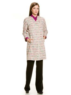 Пальто Levall. Цвет: лазурный, белый, розовый