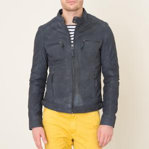 Куртка из нубука OAKWOOD. Цвет: деним,серый