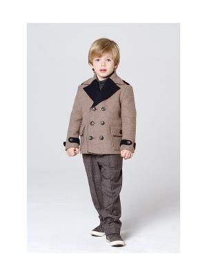 Пальто укороченное MORU. Цвет: светло-коричневый, синий