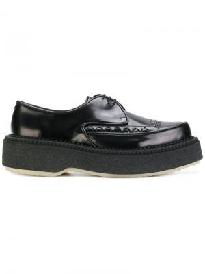 Туфли на шнуровке и утолщенной подошве Adieu Paris. Цвет: чёрный