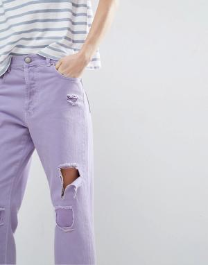 ASOS Сиреневые джинсы прямого кроя. Цвет: фиолетовый