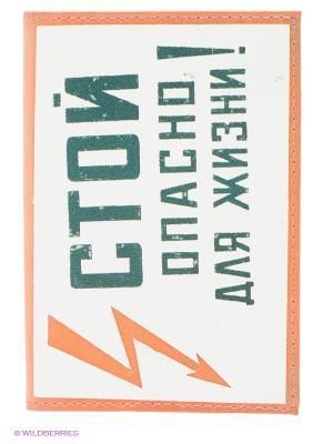 Обложка для паспорта Стой! Mitya Veselkov. Цвет: белый, антрацитовый, светло-оранжевый