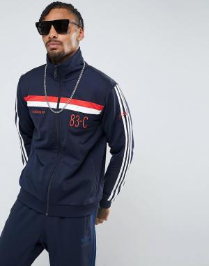 Adidas Originals Синяя спортивная куртка 83-C BR6968. Цвет: синий