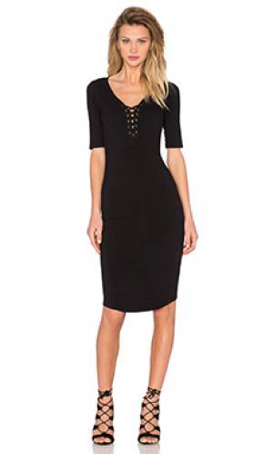 Платье из джерси со шнуровкой MONROW. Цвет: черный