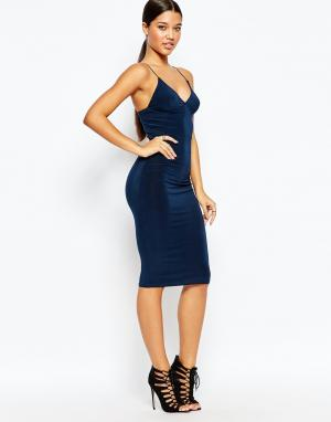 Club L Платье-миди с бретельками. Цвет: темно-синий