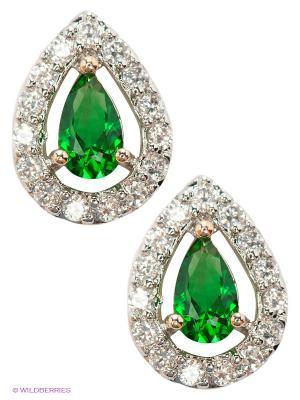 Серьги Royal Diamond. Цвет: золотистый, зеленый