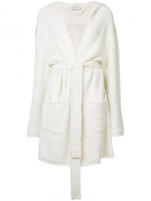 Пальто-кардиган с поясом Beau Souci. Цвет: белый