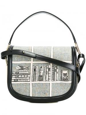 Полукруглая сумка через плечо Olympia Le-Tan. Цвет: серый