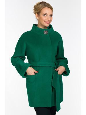 Пальто GallaLady. Цвет: светло-зеленый