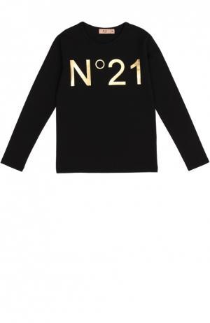 Хлопковый лонгслив с логотипом бренда No. 21. Цвет: черный