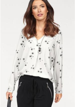 Блузка Laura Scott. Цвет: молочно-белый с рисунком, черный
