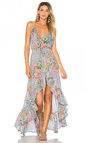 Платье с разрезами сзади havana nights AUGUSTE. Цвет: синий