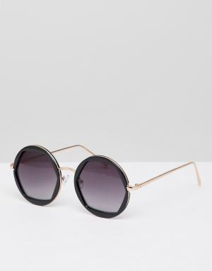 New Look Круглые солнцезащитные очки. Цвет: черный