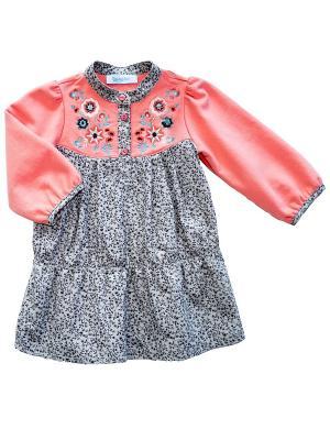 Платье Бимоша. Цвет: коралловый, бежевый