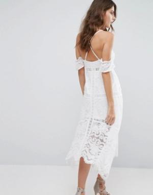 Foxiedox Платье с открытыми плечами Kiera. Цвет: белый