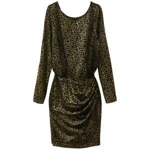 Платье короткое прямое с рисунком и длинными рукавами SEE U SOON. Цвет: золотисто-черный