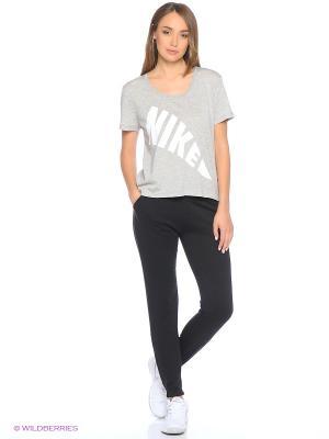 Брюки W NSW PANT FLC REG GX Nike. Цвет: черный, белый