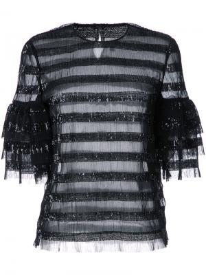 Блузка в полоску с пайетками Huishan Zhang. Цвет: чёрный