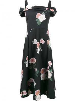 Платье-миди с открытыми плечами Rejina Pyo. Цвет: серый