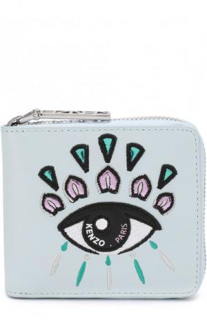 Кожаный кошелек на молнии с вышивкой Eye Kenzo. Цвет: голубой