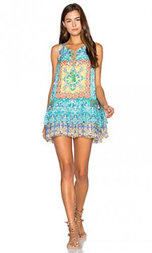 Цельнокройное платье с рюшами HEMANT AND NANDITA. Цвет: синий