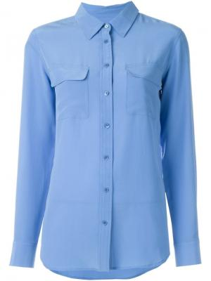 Рубашка с карманами клапанами Equipment. Цвет: синий