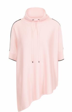 Кашемировый свитер асимметричного кроя с воротником-стойкой St. John. Цвет: светло-розовый