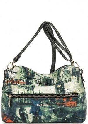 Кожаная сумка с одним отделом Curanni. Цвет: мультиколор