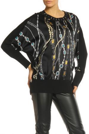 Блуза Elisa Fanti. Цвет: черный, с жемчугом