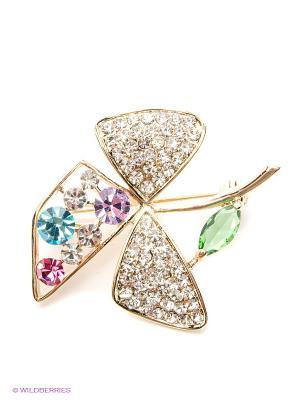 Брошь Lovely Jewelry. Цвет: голубой, золотистый, фиолетовый