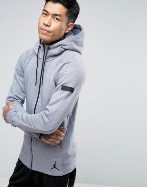 Jordan Серое худи на молнии Nike Icon 809470-065. Цвет: серый