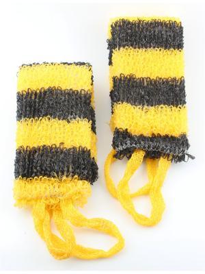 Мочалка для тела узкая, набор из 2-х шт. Радужки. Цвет: черный, желтый