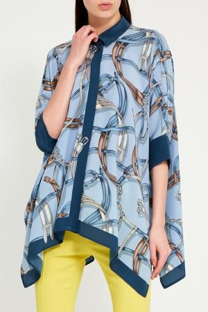 Голубая блузка с принтом Gucci. Цвет: голубой