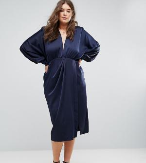 ASOS Curve Платье миди с подплечниками и длинными рукавами. Цвет: темно-синий