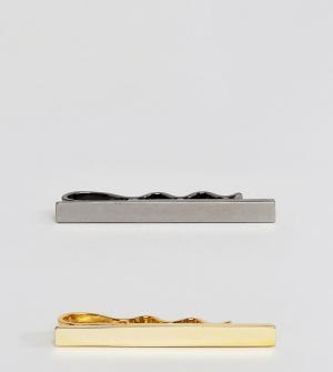 ASOS Набор из 2 узких зажимов для галстука. Цвет: мульти