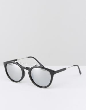 7X Круглые солнцезащитные очки в черепаховой оправе. Цвет: черный