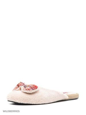 Туфли комнатные с верхом из текстильных  материалов женские. Kapprise. Цвет: бежевый