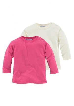 Кофточка с длинными рукавами, 2 штуки KLITZEKLEIN. Цвет: ярко-розовый+телесный